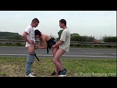Extreme public sex with petite little girl and 2 guys with big dicks by highway