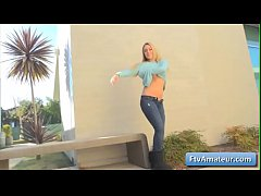 Sexy busty blonde teen girl Zoey flash her boobs in public and masturbate near a wall