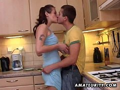 Young amateur couple homemade action with facial cumshot