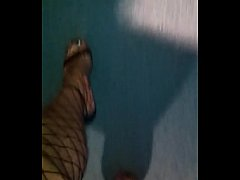 Walking in Sexy High Heels Fishnet Stockingd