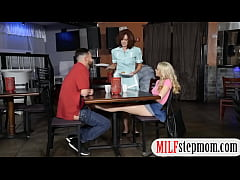College couple threesome at the diner