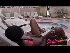 StepLesbians - Ebony Stepdaughter Caught Masturbating