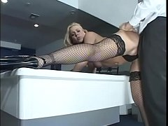 Blonde babe Julie Night with sexy fishnet is ready to give her asshole for some pleasure
