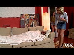 young teen joins madlin and nasta zya for black cock blowjob orgy