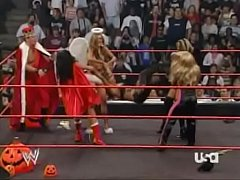 2005 10-31 Wwe Raw - Divas Halloween Costume Contest - Ashley, Maria, Candice Michelle, Mickie James, Victoria & Trish Stratus