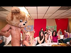 DANCING BEAR - A Bunch Of Horny Women Suck Male Stripper Dicks At A CFNM Party