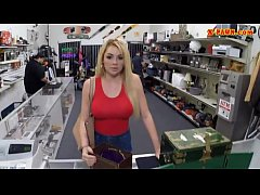 busty blonde babe screwed by pawn dude