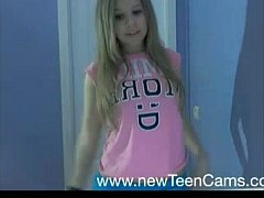 Cute young teen with highpitch voice striptease...