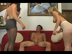 Threesome with a pantyhose fetish footjob and fuck