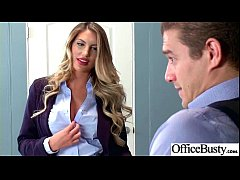 (August Ames) Girl With Round Big Tits In Hard Style Sex In Office clip-04