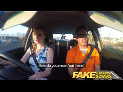 Fake Driving School Posh freaky redhead with bi...