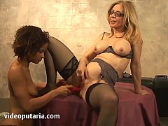 Sexy older woman teaches younger slut
