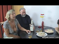 Czech blonde involved into threesome mature sex