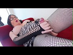 Tranny with large dick plays a solo