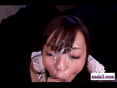 Asian Girl Rubbing Guy Cock With Legs Sucking Him Receiving Facial On The Mattre