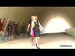 Blonde busty bad girl convinced by stranger to fuck in tunnel
