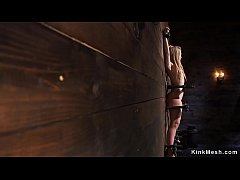 Petite and skinny blonde babe ass whipped in wooden stock