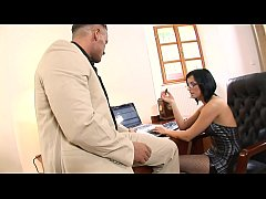 Smokin' brunette in glasses and fishnets Renata Black fucks and sucks her boss in the office