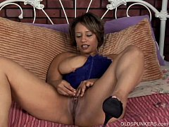 Cute and cuddly black MILF fucks her soaking we...