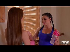 Angelica Heart and Inna Cram Dildos During Lesbian Workout Session