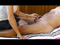 Outdoor handjob and cumshot