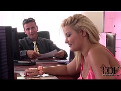 Two Horny Babes Have A Hardcore Office Coworkers Threesome