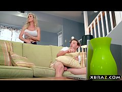 Stepmom Brandi Love helps young guy with his boner