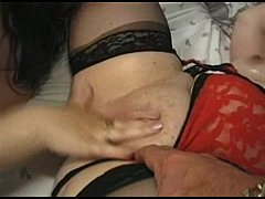 Very old girl and young fat movie Paul is loving his breakfast in the