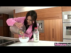 (Shyla Jennings) makes a mess with the milk in the kitchen - Twistys