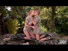 Horny lesbian soldiers Loulou Petite & Danielle Maye ride huge sex toys