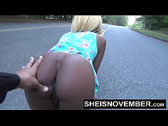 Risky Middle Of Street Blowjob & Big Ass Ebony Booty With Pussy Out For Stranger Msnovember HD Sheisnovember