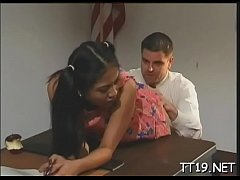 Sexy schoolgirl gets down on knees and gives sexy pov oral-service