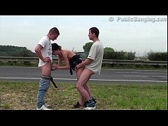 Cute petite 18 year old teen girl public sex gang bang threesome by busy highway