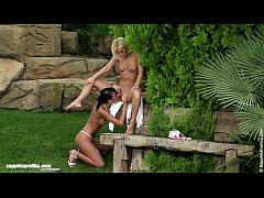 Very beautiful lesbians Jenny and Debby play with each other outdoors by Sapphic
