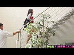 Horny babe Rachael got punished by hard pole