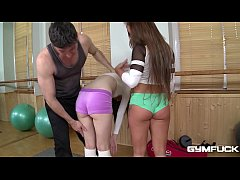Gym fuck with athletic teens Bella Baby & Timea Bela makes your cum gush!