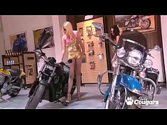 Two gorgeous MILFs Get Naked On A Motorcycle - Softcore