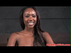 Bound ebony sub whipped by her maledom master