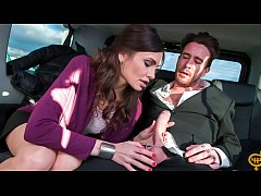 FUCKED IN TRAFFIC - Hot Russian babe Audrey Jane gets cum covered in the backseat of the car
