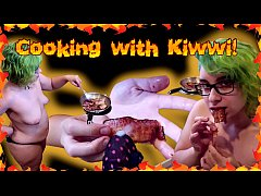Cooking with Kiwwi and eating CUM covered BACON!