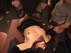 Blindfolded slutwife gangfucked by over 40 guys