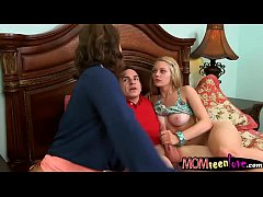 Big juggs stepmom Eva Notty threesome sex on the couch