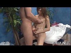 Hot 18 year old babe gets drilled hard from behind by her masseur