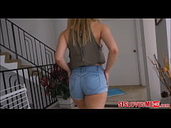 Pretty little blonde in blue jean shorts