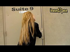 Blond girl female desperation & peeing her panties