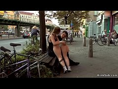 Big tits dark haired slave Pina De Luxe spanked by mistress Mona Wales and master Steve Holmes in public
