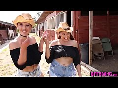 Busty country teens satisfy their sexy BFF from town