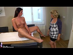 Oldnanny lesbian- Lesbian teen and granny is very horny