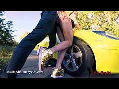 Public sex on car with fitness amateur couple. Mia Bandini