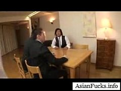 Asian in a Maid Cosplay Takes a Load in H ...